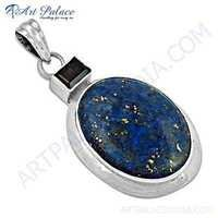 Indian Touch Lapis & Smokey Quartz Gemstone Silver Pendant