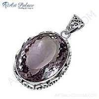 Traditional Designer Amethyst Gemstone Silver Pendant