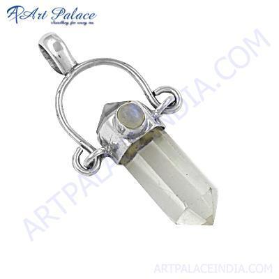 Stylish Crystal Gemstone Silver Pendant