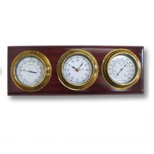 """NAUTICAL WOOD BRASS WETHER STATION CLOCK  18"""""""