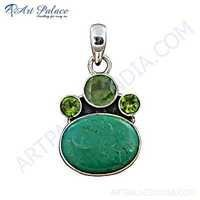 Latest Multi Gemstone 925 Sterling Silver Pendant