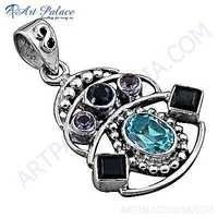 Fashion Accessories Multi Gemstone Silver Pendant