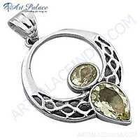 Luxurious Lemon Quartz Gemstone Silver Pendant