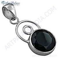 Nightlife Black Onyx Gemstone Silver Pendant