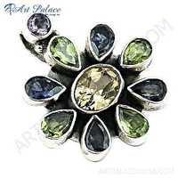 Charming Flower Multi Gemstone Silver Pendant