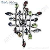 Celeb Style Multi Stone Silver Pendant