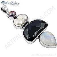 Rady to Wear Multi Gemstone Silver Pendant