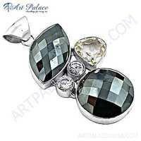 Classy Cubic Zirconia & Gun Metal Gemstone SIlver Penadant