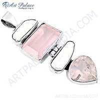 Sparkling Pearl & Rose Quartz Gemstone Silver pendant