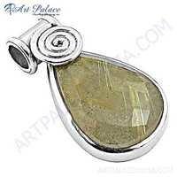 Vintage Style Golden Rutil Gemstone Silver Pendant