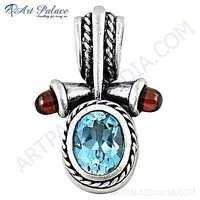 Graceful Glamour Blue Topaz & Garnet Gemstone Silver Pendant