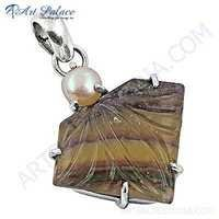 New Fashionable Fluriote & Pearl Gemstone Silver Pendant