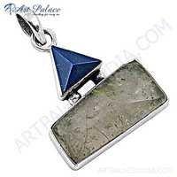 Hot Sale Black Rutilated Quartz & Lapis Lazuli Gemstone Silver Pendant