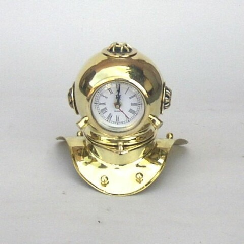 NAUTICAL BRASS DIVERS HELMET CLOCK 9