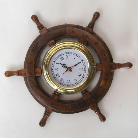 NAUTICAL WOODEN SHIP WHEEL CLOCK  12