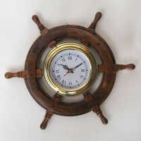 NAUTICAL WOODEN SHIP WHEEL CLOCK  12