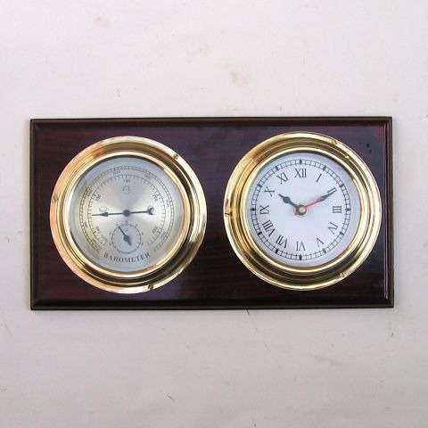 BRASS WEATHER STATION CLOCK 12X 6.5