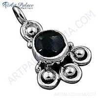 Indian Designer Black Onyx Gemstone Silver Pendant