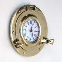 NAUTICAL BRASS  PORTHOLE CLOCK NO BASE 9