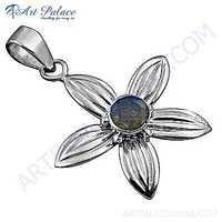 Rocking Flower Style Rainbow Moonstone Gemstone Silver Pendant