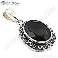 Famous Designer Smokey Quartz Gemstone Silver Pendant