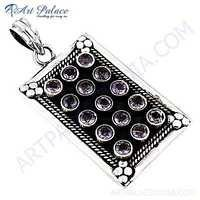 Vintage Style Amethyst Gemstone Silver Pendant