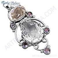 Graceful Glamour Amethyst & Crystal Gemstopne Silver Pendant