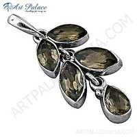 Droping Leaf Style Smokey Quartz Gemstone Silver Pendant