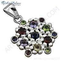 Exclusive Multi Stone Silver Pendant