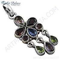 Noble Colorful Multi Stone Silver Pendant
