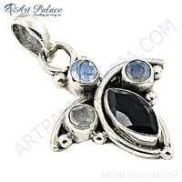 Antique Style Black Onyx & Rainbow Moonstone Silver Pendant