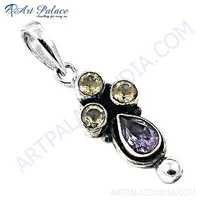 Indian Touch Amethyst & Citrine Gemstone Silver Pendant