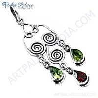 Spiral Designer Garnet & Peridot Gemstone Silver Pendant