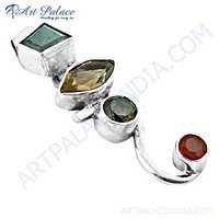 Top Quality Multi Gemstone Silver Pendant