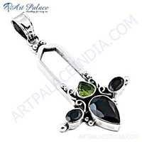 Fantastic Fashionable Garnet & Peridot Gemstone Silver Pendant