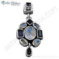 Lastest luxury Multi Stone Silver Pendant