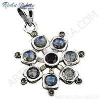 Costume Multi Gemstone Silver Pendant