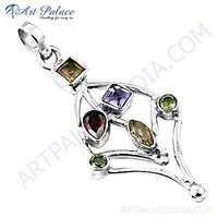 Gracious Fashionable Multi Stone Silver Pendant