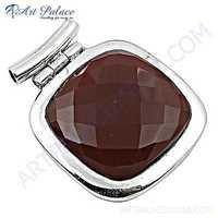 HOT!!! Luxury Fashionable Gemstone Red Onyx Silver Pendant