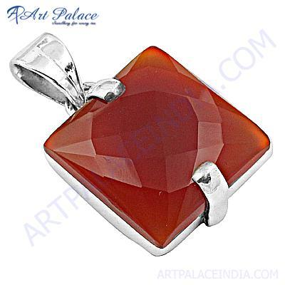 Large Antique Silver Gemstone Red Onyx Pendant