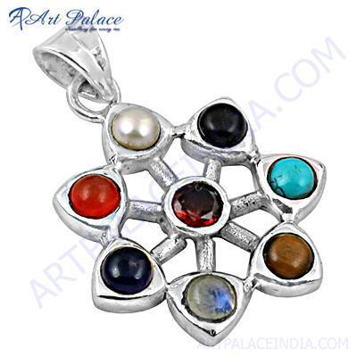 Rady to Wear Multi Stone Silver Pendant