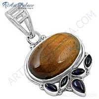 Glamour Amethyst & Tiger Eye Gemstone Silver Pendant