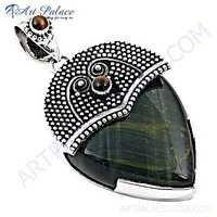 Traditional Designer Black Tiger Eye & Tiger Eye Silver Pendant