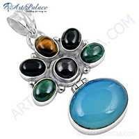 Fastival Wear Multi Gemstone Silver Pendant