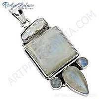 Unusual Pearl & Rainbow Moonstone Gemstone Silver Pendant