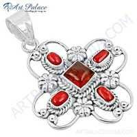 New Fashionable Amber & Coral Gemstone Silver Pendant