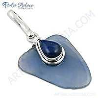Special Cutting Blue Chalcedony & Lapis Gemstone Silver Pendant