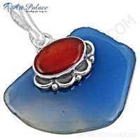 Royal Blue Chalcedony & Carnelian Gemstone Silver Pendant