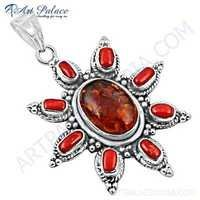 New Extra Shine Amber & Coral Gemstone Silver Pendant