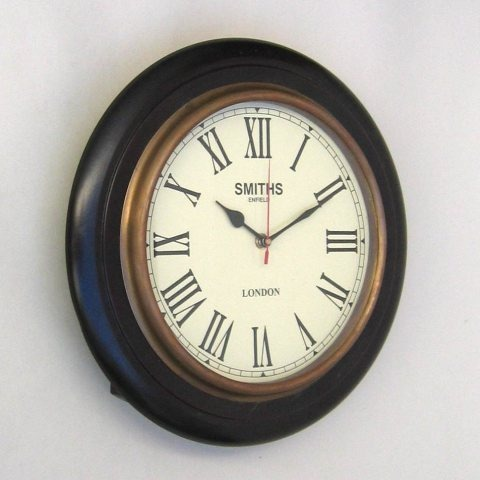 NAUTICAL WOODEN MARINE CLOCK SINGLE TIME TAPER 14